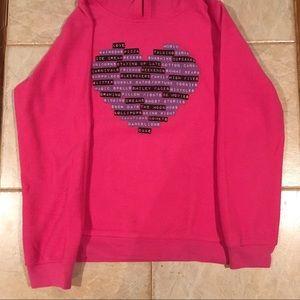 Kids Pink Heart XL Hoodie Sweatshirt